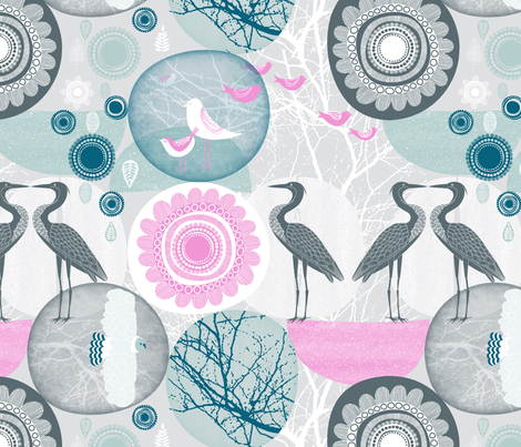 NordicLandscape Folk Art Absract fabric by j9design on Spoonflower - custom fabric