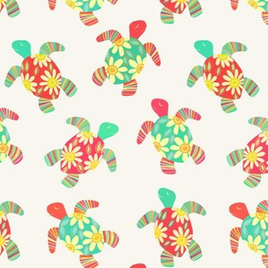 Cute Flower Child Hippy Turtles on Cream
