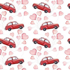 "4"" Red Vintage Car with Heart Balloons"