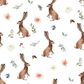 """8"""" Boho Woodland Bunnies // White"""