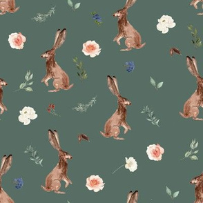 "8"" Boho Woodland Bunnies // Corduroy Green"