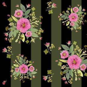 Pink rose bouquets lg dark stripe