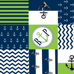 Anchor  Center Quilt 21 wholecloth -apple green  white blue PERSONALIZE for BP