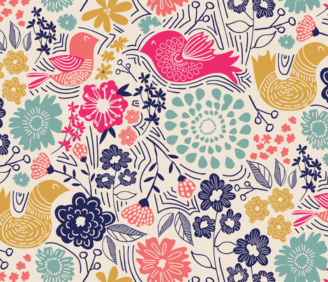 Folk Birds fabric by jenflorentine on Spoonflower - custom fabric