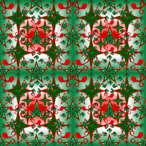 Alpacas Green Star Fabric With Red, White and Green Background fabric by lworiginals on Spoonflower - custom fabric