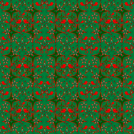 Alpacas Fabric Green Star With Mistletoe and Birds fabric by lworiginals on Spoonflower - custom fabric