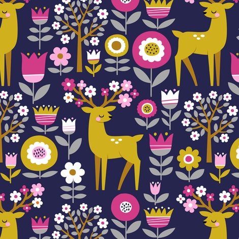 scandinavian spring - dark blue fabric by mirabelleprint on Spoonflower - custom fabric