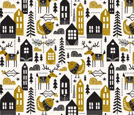 Yuletide - Scandinavian Christmas fabric by heatherdutton on Spoonflower - custom fabric