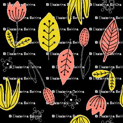 Scandinavian flowers and leaves