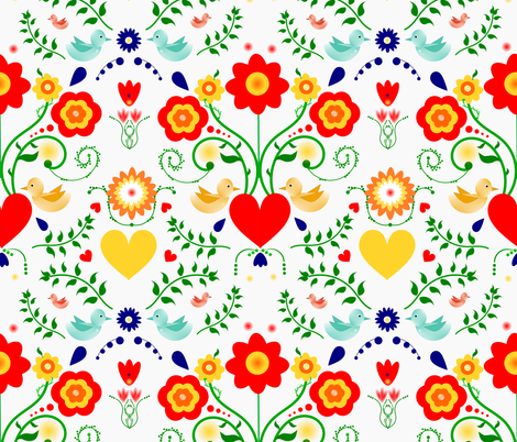 Scandinavian Inspired Floral and Birds fabric by iadesigns on Spoonflower - custom fabric