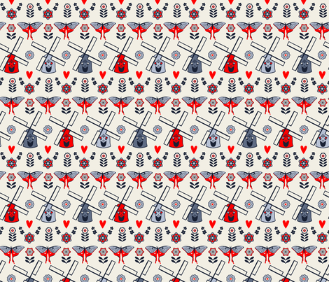 Scandinavian Folk Windmills fabric by onelittleprintshop on Spoonflower - custom fabric