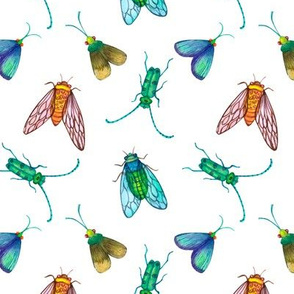 Cicadas and moths insects watercolor seamless background on white