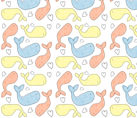 whale you be my valentine (small) fabric by the_kitten_is_in on Spoonflower - custom fabric