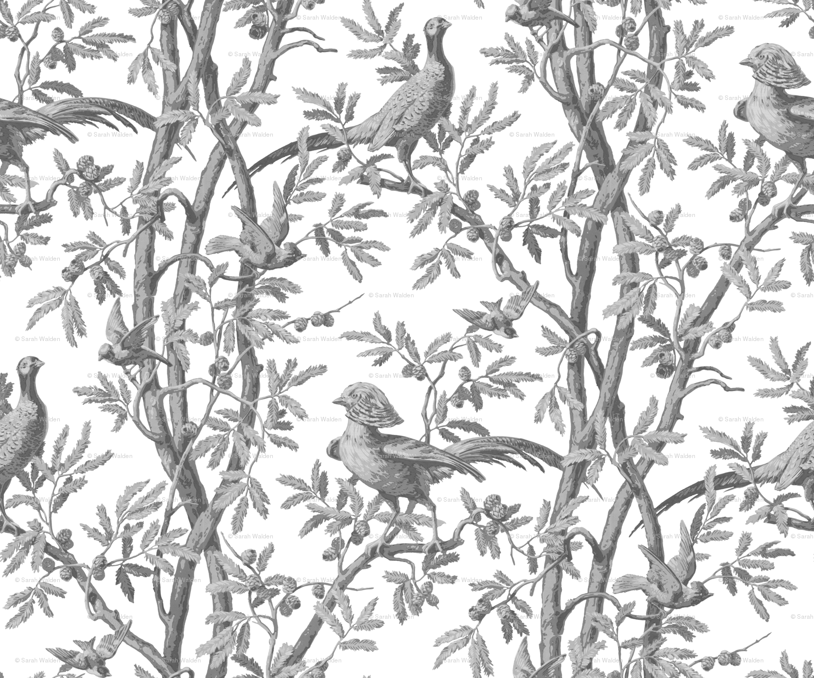 Golden Pheasants Chinoiserie Toile ~ Silver Grey on White wallpaper - peacoquettedesigns - Spoonflower