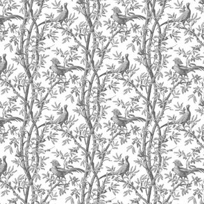 Golden Pheasants Chinoiserie Toile ~ Silver Grey on White