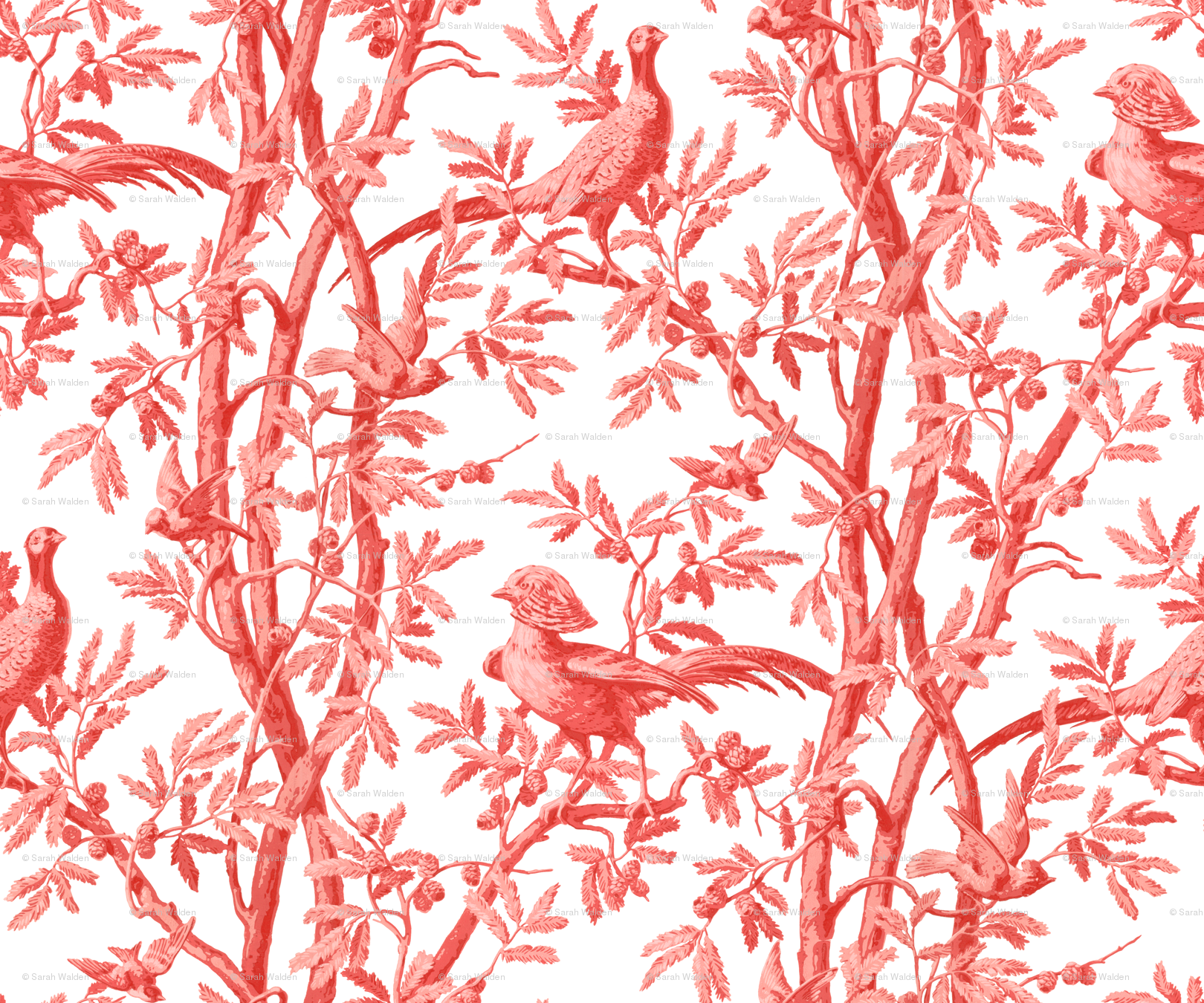 Golden Pheasants Chinoiserie Toile ~ Coral Reef on White wallpaper - peacoquettedesigns - Spoonflower