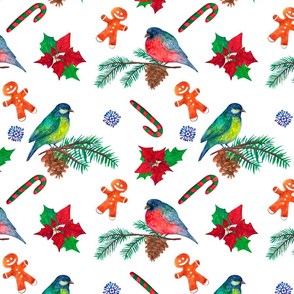 New year holiday watercolor seamless background with birds and poinsettia flowers on white