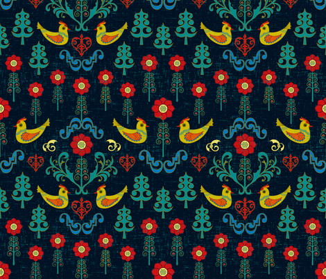 Scandinavian Folk Love Birds fabric by candogirldesign on Spoonflower - custom fabric