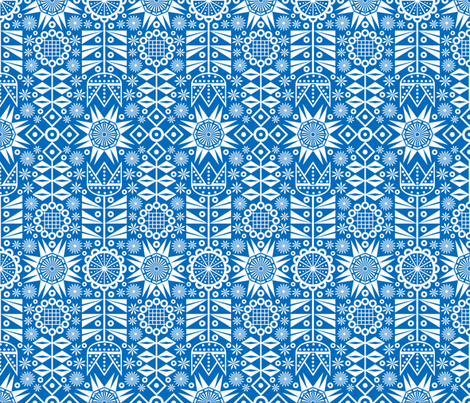 Nordic Garden (sapphire) fabric by jjtrends on Spoonflower - custom fabric
