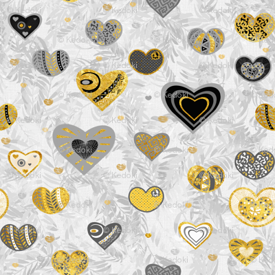 Golden Hearts and Palm Leaves