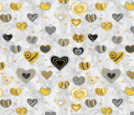 Golden Hearts and Palm Leaves fabric by kedoki on Spoonflower - custom fabric