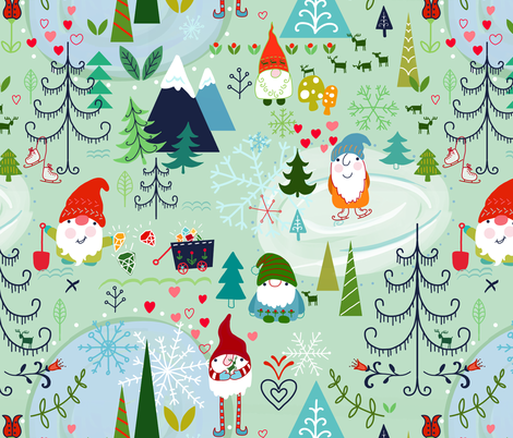 Love you gnome matter what ♥ fabric by designed_by_debby on Spoonflower - custom fabric