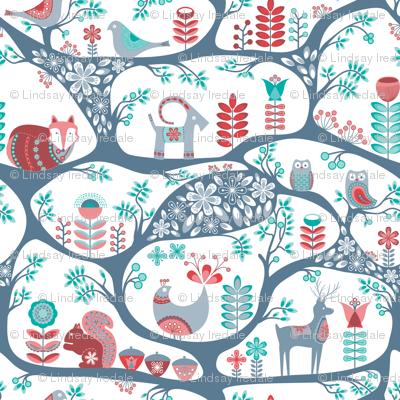 Scandinavian Folk Art - in teal and dusty rose