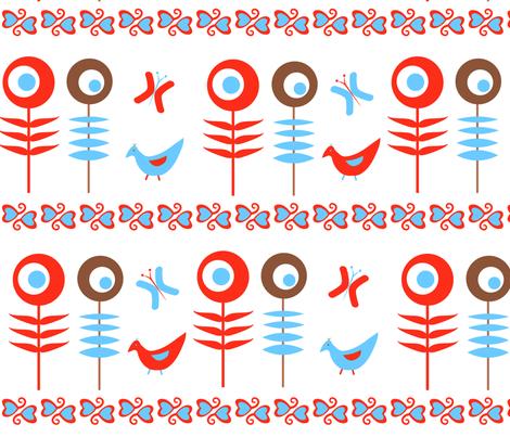 Folk Flowers fabric by julia_diane on Spoonflower - custom fabric
