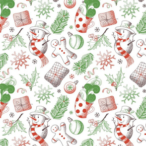 Christmas Things Sketched on White