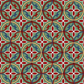 Poinsetta Mosaic Tile on Green