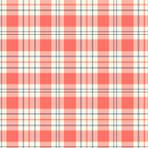 French Ticking Madras ~ Coral Reef, Elzabeth, and Cosmic Latte