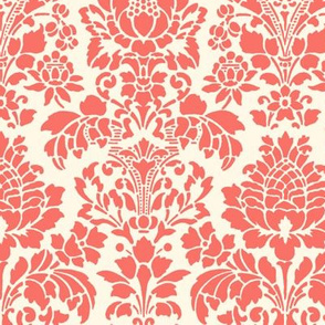 Balmoral Damask ~ Coral Reef and Cosmic Latte