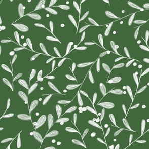Boughs of Holly on Pine Green