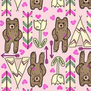 Grow Up Tall & Strong  Boho Bears -Pink med.