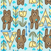 Grow Up Tall & Strong  Boho Bears -Blue med.