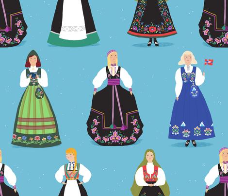 Norwegian Bunad Girls fabric by caroline_wilkie_studio on Spoonflower - custom fabric