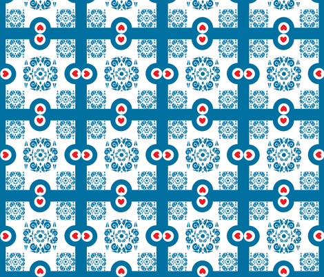 Blue and White Ornamental Square With Hearts fabric by helena_tiainen on Spoonflower - custom fabric