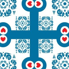 Blue and White Ornamental Square With Hearts