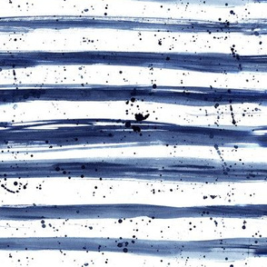 Indigo grungy stripes with splatters || navy blue painted pattern