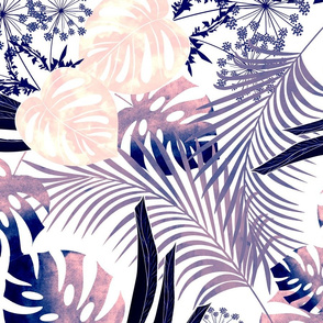 Tropical.  Pink, lilac on white.