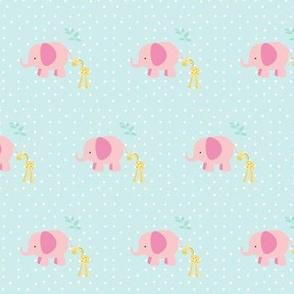 pink elephant friends on seaglass white polka dot - MINI3