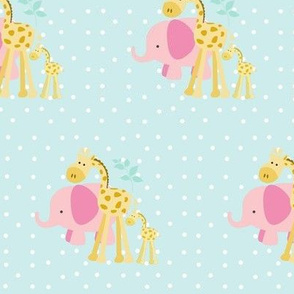 pink elephant friends 2 on seaglass white polka dot - SMALL 525