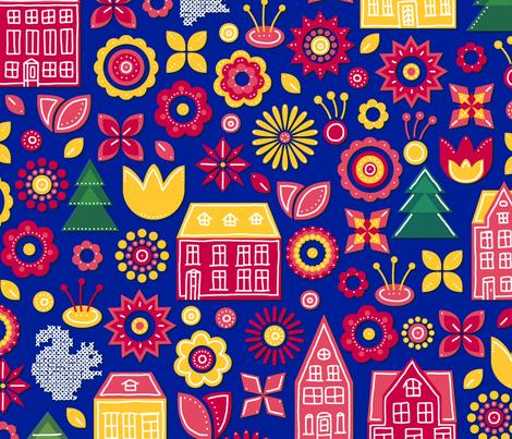 tinyhouses_bigflowers_u fabric by benedettagelli on Spoonflower - custom fabric