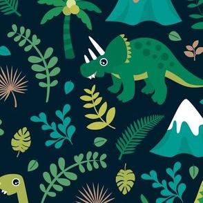 Colorful botanical dino monster garden kids dinosaurs design volcano palm tree leaves night green boys LARGE
