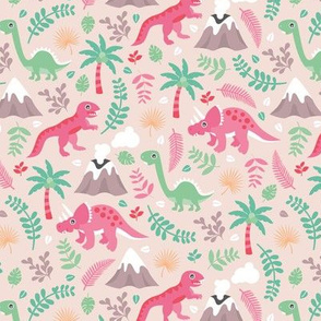 Colorful botanical dino monster garden kids dinosaurs design volcano palm tree leaves pastel pink girls MEDIUM