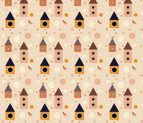 Birds and Houses fabric by miloudesigns on Spoonflower - custom fabric