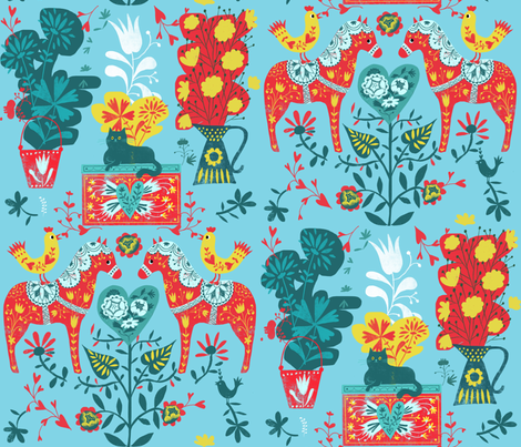 happy horses folkart fabric by miraparadies on Spoonflower - custom fabric