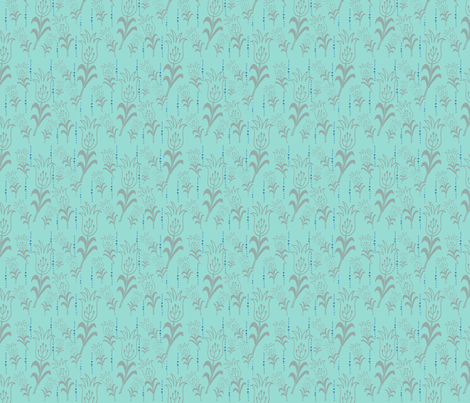 turquoise with gray fabric by lovebirdt on Spoonflower - custom fabric