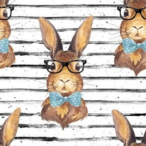 "8"" BUNNY WITH GLASSES larger stripes"