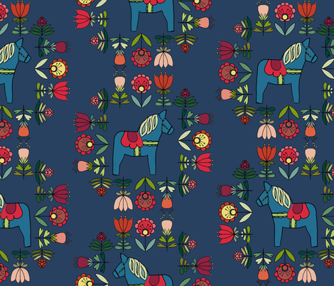 Flowers and Dalahorse fabric by patterista on Spoonflower - custom fabric